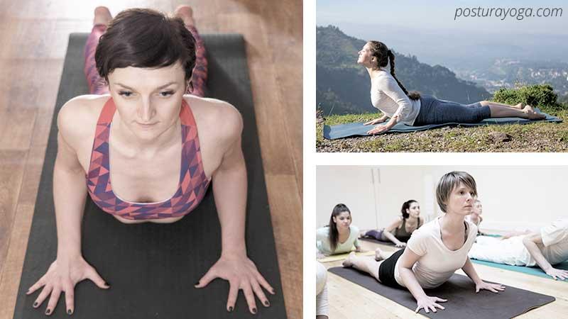 Postura de la cobra en guía de yoga